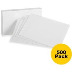 "Oxford Printable Index Card - 10% Recycled - 3"" x 5"" - 85 lb Basis Weight - 500 / Bundle - White"