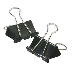 """Office Depot® Brand Binder Clips, Small, 3/4"""" Wide, 3/8"""" Capacity, Black, Box Of 12"""