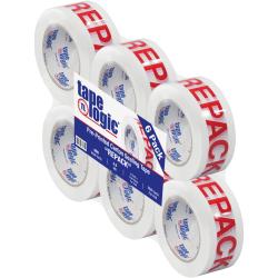 "Tape Logic® Preprinted Repack Carton Sealing Tape, 3"" Core, 2"" x 110 Yd., Red/White, Case Of 6"