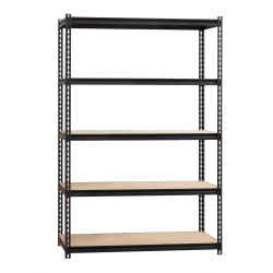 "Lorell 2,300 lb Capacity Riveted Steel Shelving - 72"" Height x 48"" Width x 24"" Depth - Recycled - Black - Steel, Particleboard - 1Each"