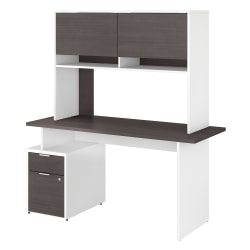 """Bush Business Furniture Jamestown Desk With 2 Drawers And Hutch, 60""""W, Storm Gray/White, Standard Delivery"""