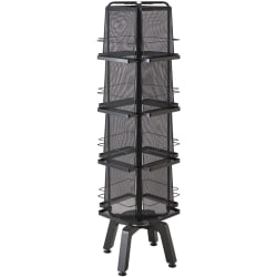 "Safco Onyx Mesh Rotating Magazine Stand - 16 Pocket(s) - 58.6"" Height x 18.3"" Width x 18.3"" Depth - Floor - Recycled - Black - Steel, Polyvinyl Chloride (PVC) - 1Each"