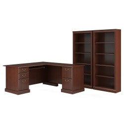 "Bush Furniture Saratoga 66""W L-Shaped Computer Desk And Two 5-Shelf Bookcases, Harvest Cherry, Standard Delivery"