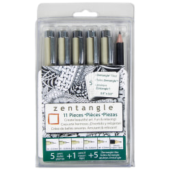 Sakura Zentangle Drawing Set, Black Ink, Set Of 11 Pieces