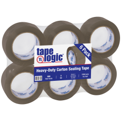 "Tape Logic® #400 Industrial Acrylic Tape, 3"" Core, 2"" x 110 Yd., Tan, Case Of 6"