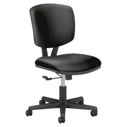 HON® Volt 5701 SofThread™ Bonded Leather Tilt Mid-Back Task Chair, Black