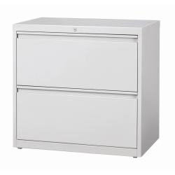 """WorkPro® 30""""W Lateral 2-Drawer File Cabinet, Metal, Light Gray"""