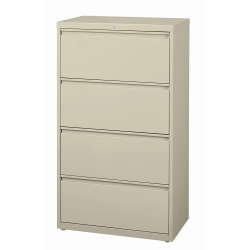 "WorkPro® 30""W Lateral 4-Drawer File Cabinet, Metal, Putty"