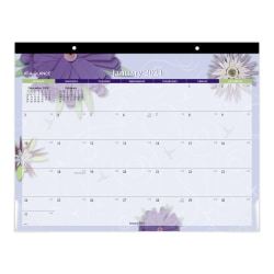 "AT-A-GLANCE® Paper Flowers Monthly Desk Pad, 21-3/4"" x 17"", January To December 2021, 5035"