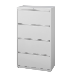 """WorkPro® 30""""W Lateral 4-Drawer File Cabinet, Metal, Light Gray"""