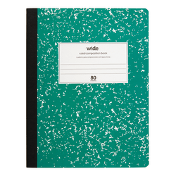 """Office Depot® Marble Composition Book, 7 1/2"""" x 9 3/4"""", Wide Ruled, 160 Pages (80 Sheets), Green"""