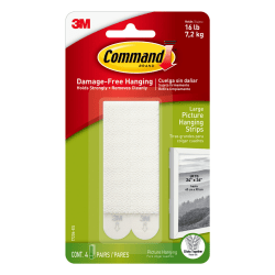 3M™ Command™ Damage-Free Picture-Hanging Strips, Large, White, Pack Of 4 Strips