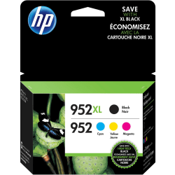 HP 952XL High-Yield Black And 952 Tri-Color Ink Cartridges (N9K28AN), Pack Of 4