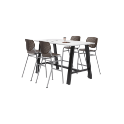 """KFI Midtown Bistro Table With 4 Stacking Chairs, 41""""H x 36""""W x 72""""D, Designer White/Brownstone"""