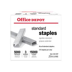 """Office Depot® Standard Staples, 1/4"""", 5,000 Staples Per Pack, Box Of 3 Packs"""
