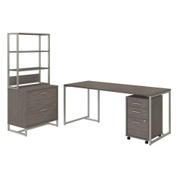 """kathy ireland® Office by Bush Business Furniture Method Table Desk with File Cabinets and Hutch, 72""""W, Cocoa, Premium Installation"""