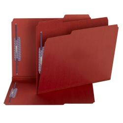 Smead® Color Pressboard Fastener Folders With SafeSHIELD® Coated Fasteners, Letter Size, 1/3 Cut, 100% Recycled, Bright Red, Box Of 25