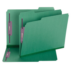 Smead® Color Pressboard Fastener Folders With SafeSHIELD® Coated Fasteners, Letter Size, 1/3 Cut, 100% Recycled, Green, Box Of 25