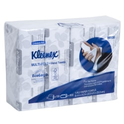 "Kleenex® Multi-Fold 1-Ply Hand Towels, 9-3/16"" x 9-3/8"", 150 Towels Per Sleeve, Pack Of 4 Sleeves"