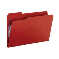 Smead® Color Pressboard Fastener Folders With SafeSHIELD® Coated Fasteners, Legal Size, 1/3 Cut, 50% Recycled, Bright Red, Box Of 25