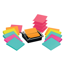 "Post it® Super Sticky Pop up Notes With Designer Dispenser, 3"" x 3"", Black, Pack Of 12 Pads"