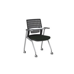Mayline® Thesis Training Chairs, With Tablet Arm, Black/Gray, Set Of 2