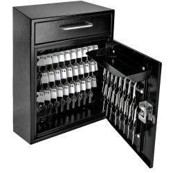 """Mail Boss Key Boss High-Security Locking Key Cabinet/Drop Box, 16-1/4""""H x 11-1/4""""W x 4-3/4""""D, Black"""