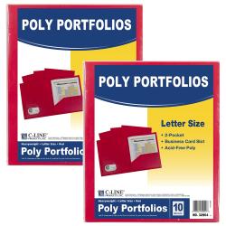 """C-Line 2-Pocket Poly Portfolios, 8-1/2"""" x 11"""", Red, 10 Folders Per Pack, Set Of 2 Packs"""