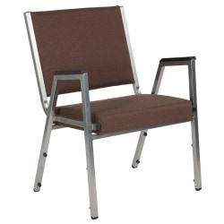 Flash Furniture HERCULES Antimicrobial Fabric Bariatric Medical Reception Chair With Arm Rests, Brown/Silvervein