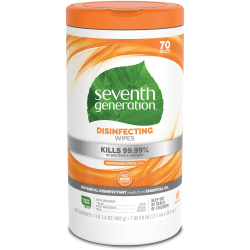 Seventh Generation™ Disinfecting Wipes, Lemongrass Scent, 70 Wipes Per Canister, Pack Of 6 Canisters