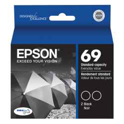 Epson® 69, (T069120-D2) DuraBrite® Black Ink Cartridges, Pack Of 2