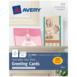 """Avery® Half-Fold Textured Greeting Cards, 5 1/2"""" x 8 1/2"""", White, Box Of 30"""