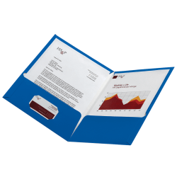 Office Depot® Laminated Paper 2-Pocket Folders, Light Blue, Pack Of 10