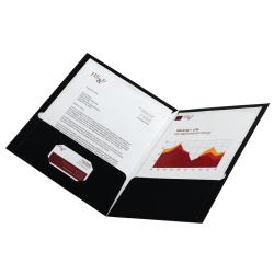 Office Depot® Brand Laminated Paper 2-Pocket Folders, Black, Pack Of 10