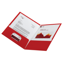 Office Depot® Brand Laminated Paper 2-Pocket Folders, Red, Pack Of 10