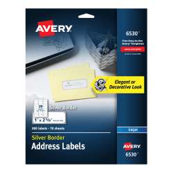 """Avery® Easy Peel® Address Labels With Border, 1"""" x 2 5/8"""", White/Silver, Pack Of 300 Labels"""