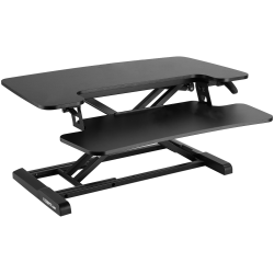 "FlexiSpot M732 Metal Height-Adjustable Sit-Stand Desk Converter, 19-3/4""H x 31-1/2""W x 16-5/16""D, Black"