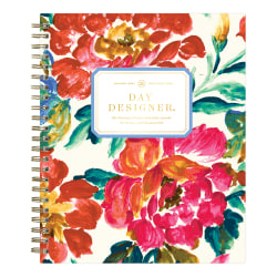 "Blue Sky™ Day Designer Daily/Monthly Planner, 7-7/16"" x 9-1/2"", Vintage Floral, January To December 2021, 124774"