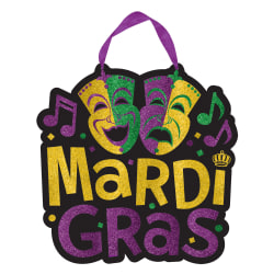 """Amscan Mardi Gras Mask Hanging Signs, 11-1/2"""" x 11-1/2"""", Multicolor, Pack Of 6 Signs"""