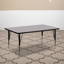 Flash Furniture 30''W Rectangular Height-Adjustable Activity Table With Short Legs, Gray