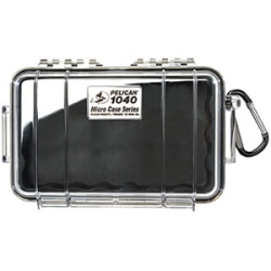 """Pelican 1040 Micro Case with Black Liner - 5.06"""" x 2.12"""" x 7.5"""" - Clear"""