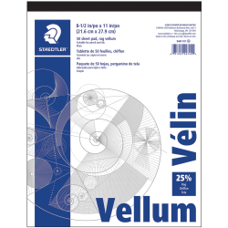 """Staedtler Vellum Paper Pad, Letter Size (8 1/2"""" x 11""""), 16 Lb, Smooth, Pad Of 50 Sheets"""