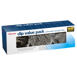 """Officemate Clip Value Pack, 1"""", 10 Sheet Capacity, Assorted, Pack Of 1,040"""