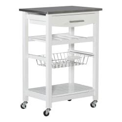 "Linon Claus Wood Kitchen Cart, With Shelf, 33-15/16""H x 22-15/16""W x 15-3/4""D, White"