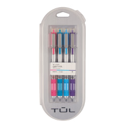 TUL® Retractable Gel Pens, Medium Point, 0.7 mm, Silver Barrel, Assorted Ink, Pack Of 4