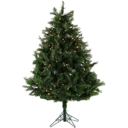 Fraser Hill Farm 6 1/2' Flocked Snowy Pine Christmas Tree With Multi-Color LED String Lights