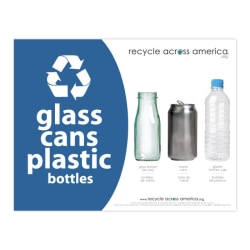 """Recycle Across America Glass, GCP-8511, Cans And Plastics Standardized Recycling Label, 8 1/2"""" x 11"""", Blue"""