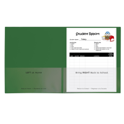 "C-Line Classroom Connector School-To-Home Folders, 8-1/2"" x 11"", Green, Box Of 25 Folders"