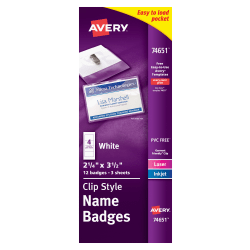 "Avery® Clip Style Name Badges, Top/Side Loading, 3 1/2"" x 2 1/6"", Pack Of 12"