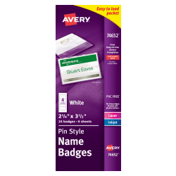 """Avery® Pin-Style Name Badge Kit, Top/Side Loading, 2 1/6"""" x 3 1/2"""", Pack Of 24"""